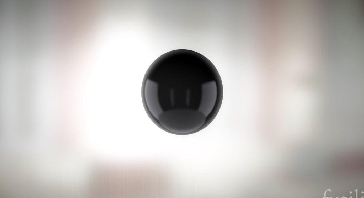 Grafika przedstawiająca czarną kulę wprzestrzeni
